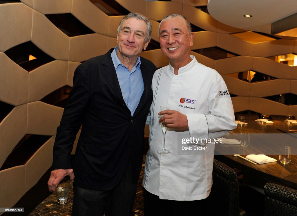 Actor Robert De Niro (L) and chef Nobu Matsuhisa appear during a preview for the Nobu Restaurant and Lounge Caesars Palace on February 2, 2013 in Las Vegas, Nevada. The Nobu Hotel Restaurant and Lounge Casears Palace is scheduled to open on February 4.