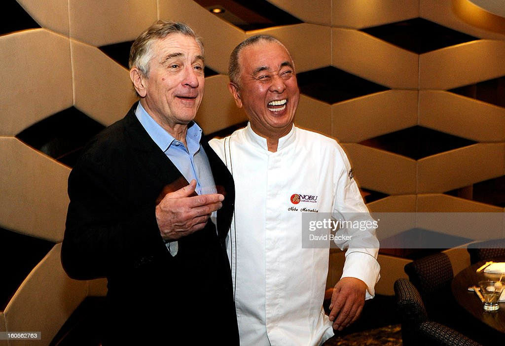 Actor <a gi-track='captionPersonalityLinkClicked' href=/galleries/search?phrase=Robert+De+Niro&family=editorial&specificpeople=201673 ng-click='$event.stopPropagation()'>Robert De Niro</a> (L) and chef <a gi-track='captionPersonalityLinkClicked' href=/galleries/search?phrase=Nobu+Matsuhisa&family=editorial&specificpeople=4292658 ng-click='$event.stopPropagation()'>Nobu Matsuhisa</a> appear during a preview for the Nobu Restaurant and Lounge Caesars Palace on February 2, 2013 in Las Vegas, Nevada. The Nobu Hotel Restaurant and Lounge Casears Palace is scheduled to open on February 4.
