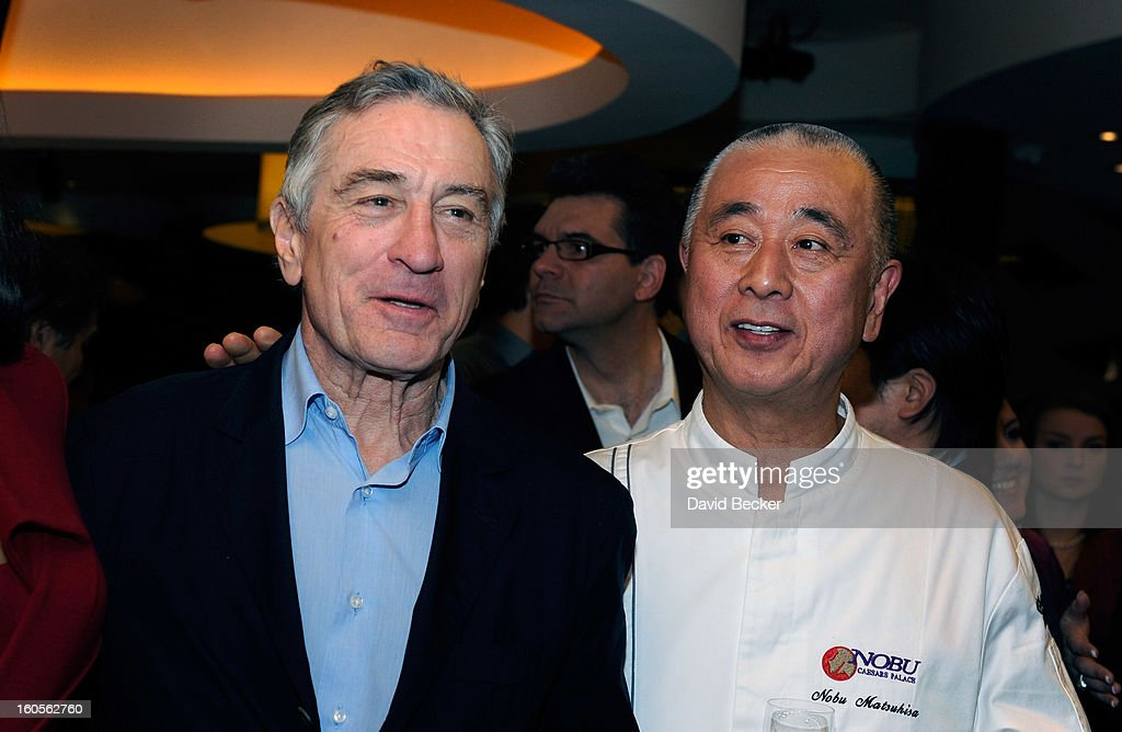 Actor <a gi-track='captionPersonalityLinkClicked' href=/galleries/search?phrase=Robert+De+Niro&family=editorial&specificpeople=201673 ng-click='$event.stopPropagation()'>Robert De Niro</a> (L) and chef <a gi-track='captionPersonalityLinkClicked' href=/galleries/search?phrase=Nobu+Matsuhisa&family=editorial&specificpeople=4292658 ng-click='$event.stopPropagation()'>Nobu Matsuhisa</a> attend a preview for the Nobu Restaurant and Lounge Caesars Palace on February 2, 2013 in Las Vegas, Nevada. The Nobu Hotel Restaurant and Lounge Casears Palace is scheduled to open on February 4.