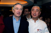 Actor Robert De Niro and chef Nobu Matsuhisa attend a preview for the Nobu Restaurant and Lounge Caesars Palace on February 2 2013 in Las Vegas...