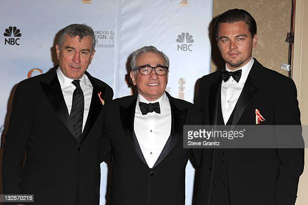 Actor Robert De Niro and director Martin Scorsese and actor Leonardo DiCaprio attends the 67th Annual Golden Globes Awards at The Beverly Hilton...