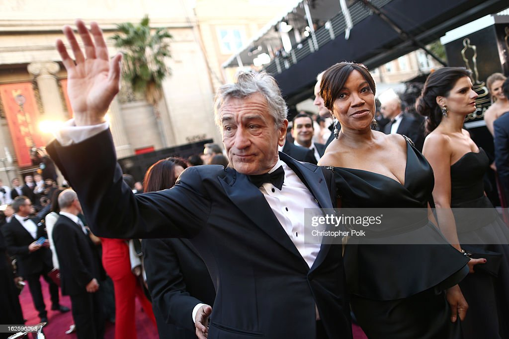 Actor <a gi-track='captionPersonalityLinkClicked' href=/galleries/search?phrase=Robert+De+Niro&family=editorial&specificpeople=201673 ng-click='$event.stopPropagation()'>Robert De Niro</a> (L) and <a gi-track='captionPersonalityLinkClicked' href=/galleries/search?phrase=Grace+Hightower&family=editorial&specificpeople=211382 ng-click='$event.stopPropagation()'>Grace Hightower</a> arrive at the Oscars held at Hollywood & Highland Center on February 24, 2013 in Hollywood, California.