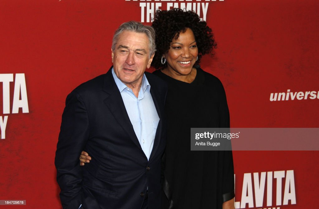 Actor Robert de Niro and his wife <a gi-track='captionPersonalityLinkClicked' href=/galleries/search?phrase=Grace+Hightower&family=editorial&specificpeople=211382 ng-click='$event.stopPropagation()'>Grace Hightower</a> attend the 'Malavita - The Family' Germany premiere at Kino in der Kulturbrauerei on October 15, 2013 in Berlin, Germany.