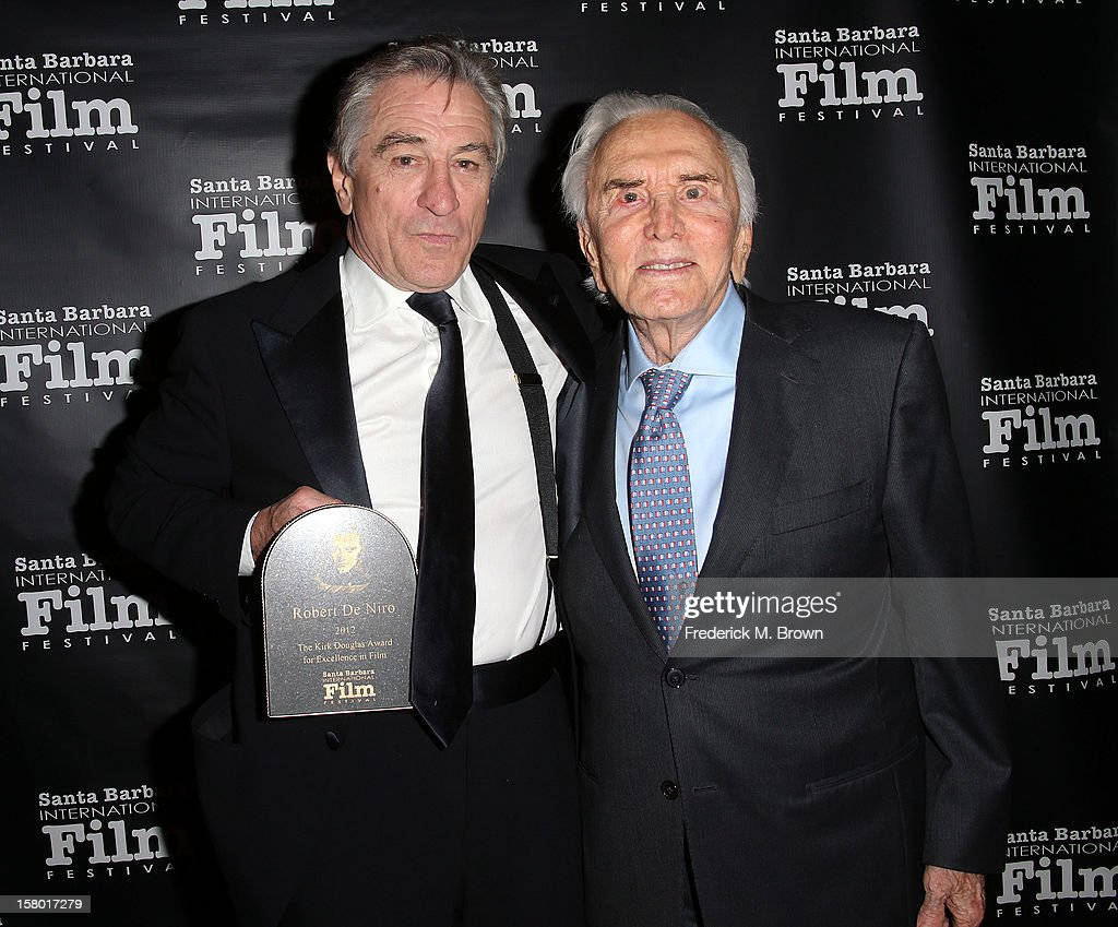 Actor <a gi-track='captionPersonalityLinkClicked' href=/galleries/search?phrase=Robert+De+Niro&family=editorial&specificpeople=201673 ng-click='$event.stopPropagation()'>Robert De Niro</a> (L) and <a gi-track='captionPersonalityLinkClicked' href=/galleries/search?phrase=Kirk+Douglas+-+Actor&family=editorial&specificpeople=13450359 ng-click='$event.stopPropagation()'>Kirk Douglas</a> attends the SBIFF's 2012 <a gi-track='captionPersonalityLinkClicked' href=/galleries/search?phrase=Kirk+Douglas+-+Actor&family=editorial&specificpeople=13450359 ng-click='$event.stopPropagation()'>Kirk Douglas</a> Award for Excellence In Film during the Santa Barbara Film Festival on December 8, 2012 in Goleta, California.