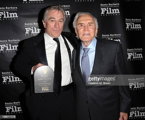 Actor Robert De Niro and Kirk Douglas attends the SBIFF's 2012 Kirk Douglas Award for Excellence In Film during the Santa Barbara Film Festival on...