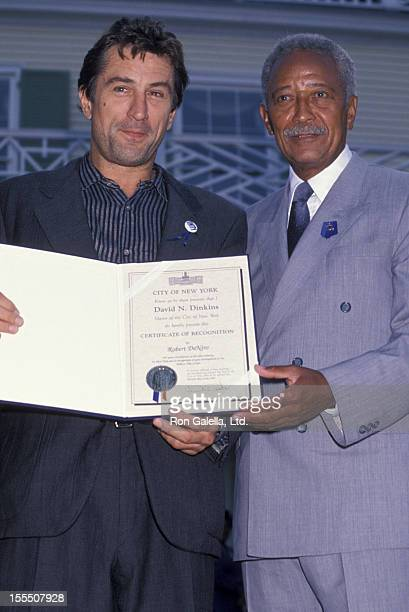 Actor Robert De Niro and Mayor David Dinkins attending Crystal Apple Awards Presentation on July 30 1990 at Gracie Mansion in New York City New York