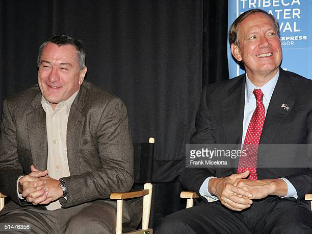 Actor Robert De Niro and New York Governor George Pataki attend the press conference to announce the First Annual Tribeca Theater Festival at Tribeca...