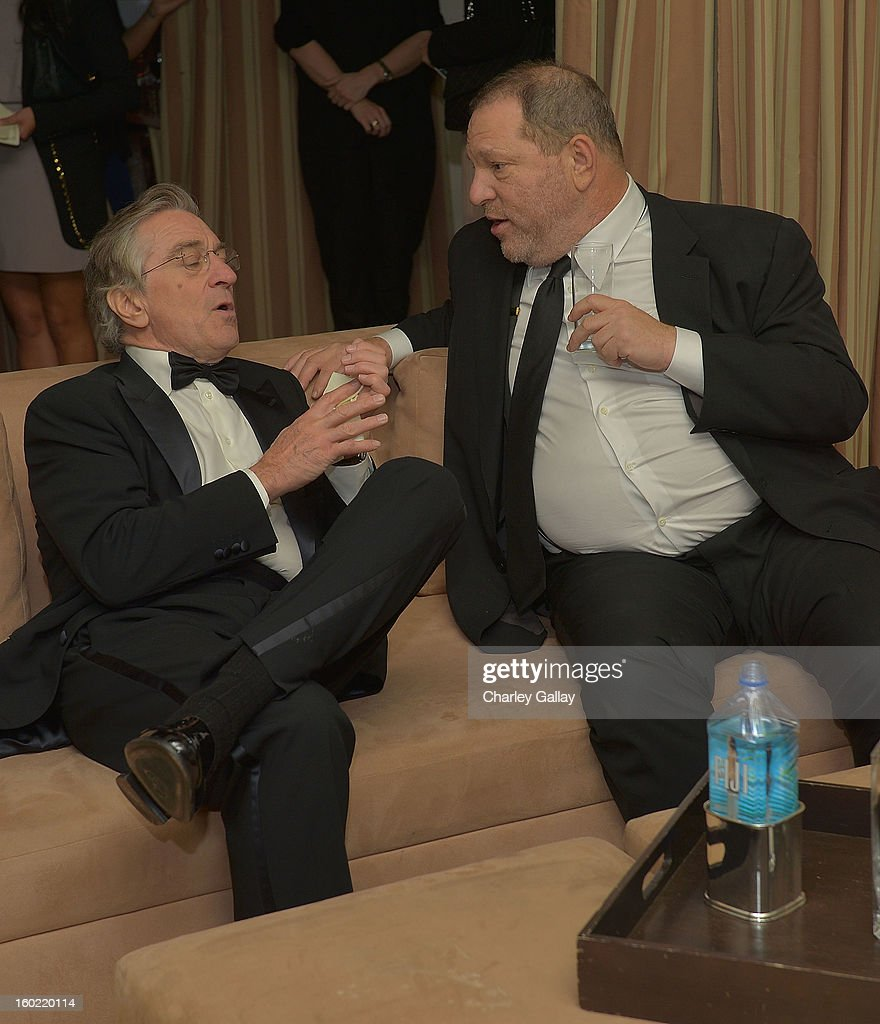Actor Robert De Niro (L) and producer <a gi-track='captionPersonalityLinkClicked' href=/galleries/search?phrase=Harvey+Weinstein&family=editorial&specificpeople=201749 ng-click='$event.stopPropagation()'>Harvey Weinstein</a> attend The Weinstein Company's SAG Awards After Party Presented By FIJI Water at Sunset Tower on January 27, 2013 in West Hollywood, California.