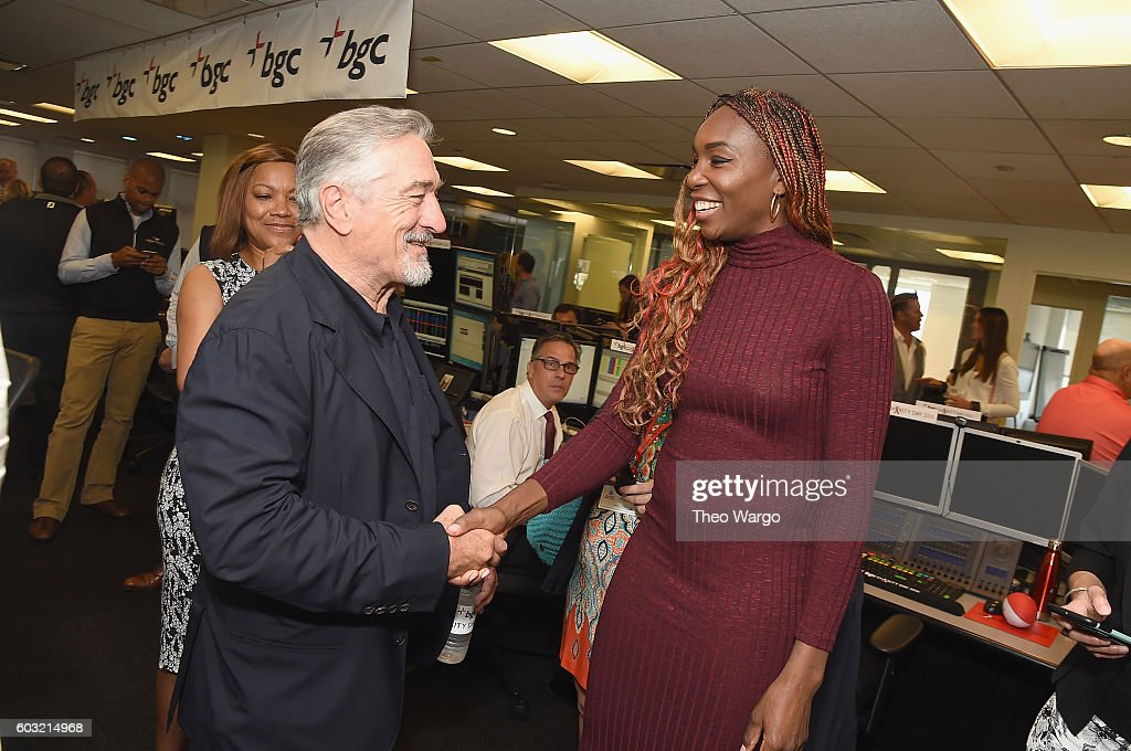 Actor Robert De Niro (L) and Tennis player Venus Williams attend Annual Charity Day hosted by Cantor Fitzgerald, BGC and GFI at BGC Partners, INC on September 12, 2016 in New York City.