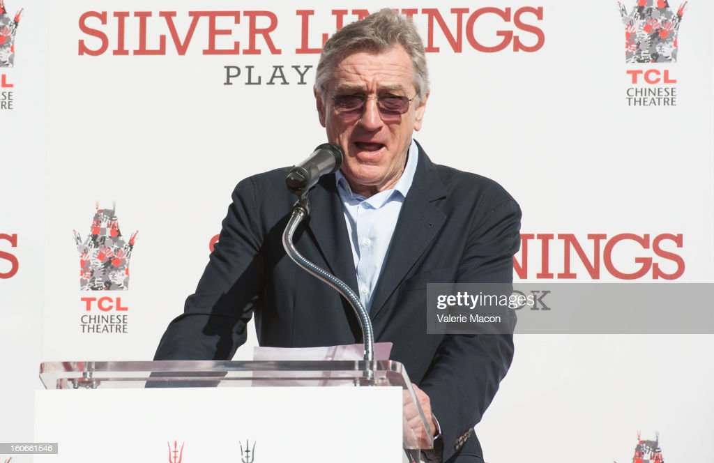 Actor <a gi-track='captionPersonalityLinkClicked' href=/galleries/search?phrase=Robert+De+Niro&family=editorial&specificpeople=201673 ng-click='$event.stopPropagation()'>Robert De Niro</a> attends his Hand and Footprint Ceremony at TCL Chinese Theatre on February 4, 2013 in Hollywood, California.