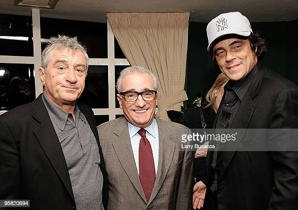 Actor Robert De Niro director Martin Scorsese and actor Benicio Del Toro attend the Lionsgate Golden Globe Party at Polo Lounge at The Beverly Hills...