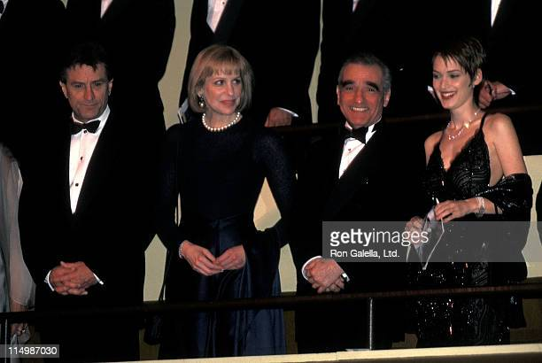 Actor Robert De Niro director Martin Scorsese and wife Helen Morris and actress Winona Ryder attend the Film Society of Lincoln Center Honors Martin...