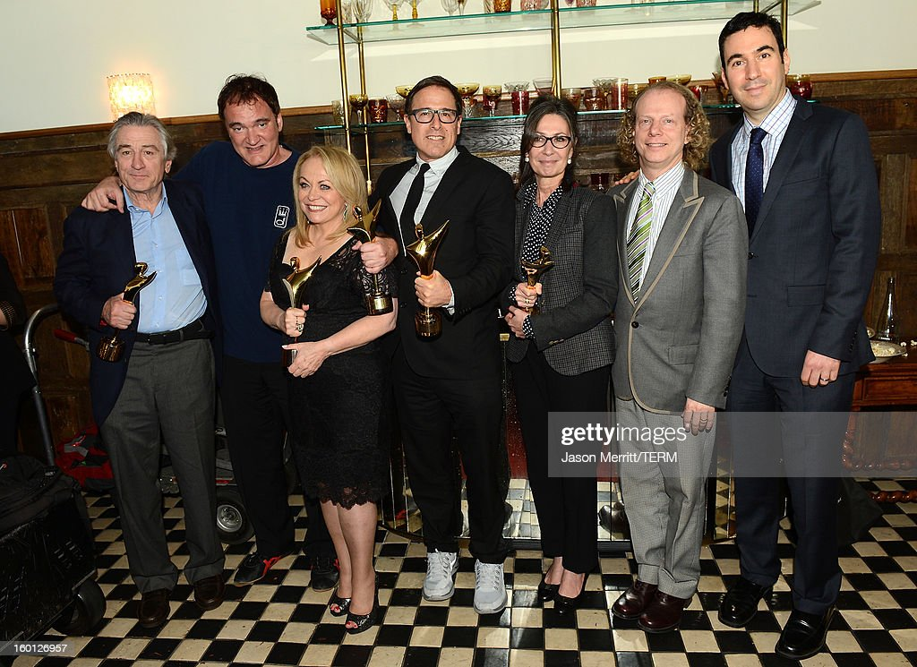 Actor <a gi-track='captionPersonalityLinkClicked' href=/galleries/search?phrase=Robert+De+Niro&family=editorial&specificpeople=201673 ng-click='$event.stopPropagation()'>Robert De Niro</a>, director <a gi-track='captionPersonalityLinkClicked' href=/galleries/search?phrase=Quentin+Tarantino&family=editorial&specificpeople=171796 ng-click='$event.stopPropagation()'>Quentin Tarantino</a>, actress <a gi-track='captionPersonalityLinkClicked' href=/galleries/search?phrase=Jacki+Weaver&family=editorial&specificpeople=220549 ng-click='$event.stopPropagation()'>Jacki Weaver</a>, director <a gi-track='captionPersonalityLinkClicked' href=/galleries/search?phrase=David+O.+Russell&family=editorial&specificpeople=215306 ng-click='$event.stopPropagation()'>David O. Russell</a>, producers Donna Gigliotti, <a gi-track='captionPersonalityLinkClicked' href=/galleries/search?phrase=Bruce+Cohen&family=editorial&specificpeople=820103 ng-click='$event.stopPropagation()'>Bruce Cohen</a>, and Jonathan Gordon backstage during the Australian Academy of Cinema and Television Arts' 2nd AACTA International Awards at Soho House on January 26, 2013 in West Hollywood, California.