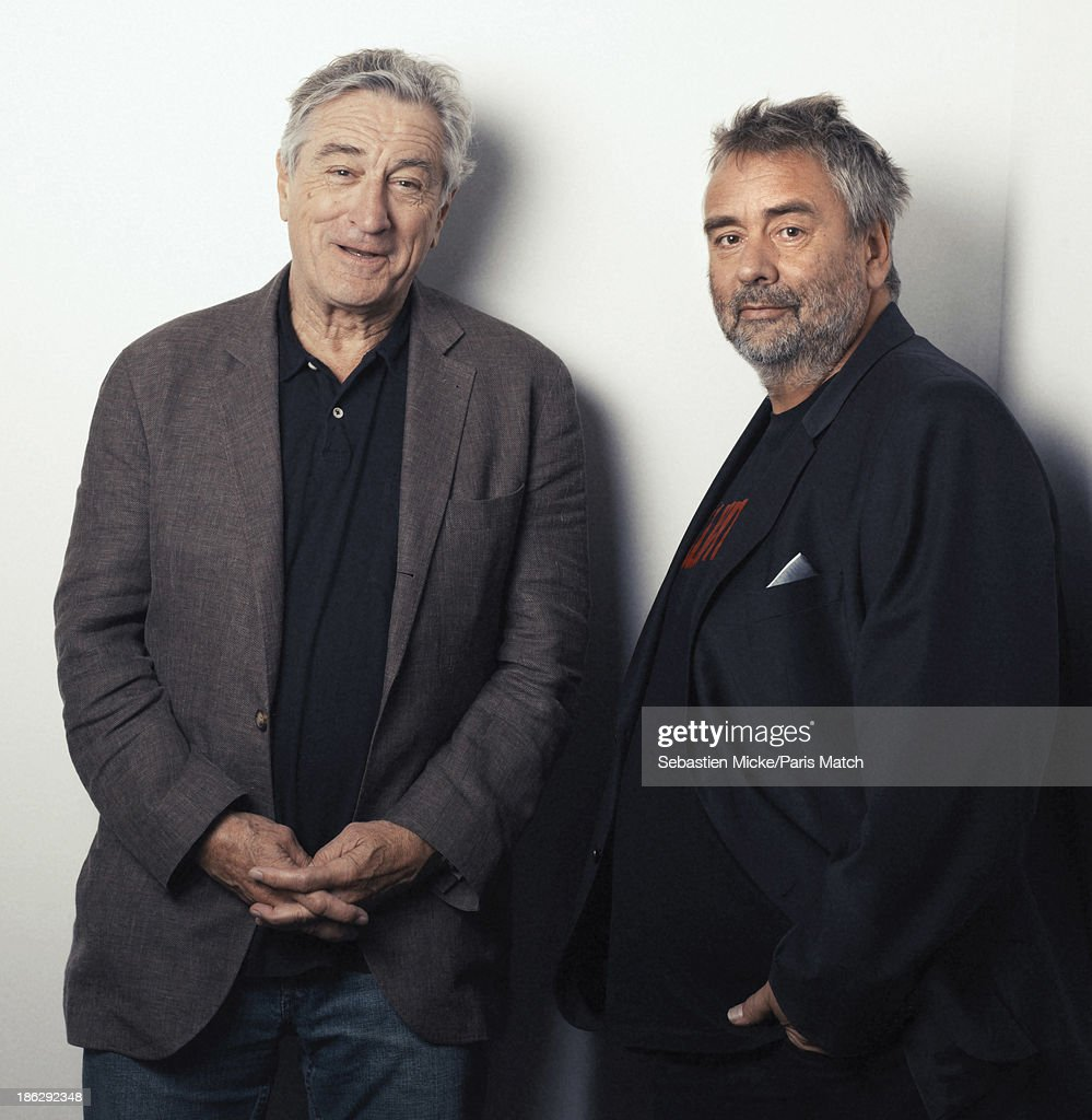 Actor <a gi-track='captionPersonalityLinkClicked' href=/galleries/search?phrase=Robert+De+Niro&family=editorial&specificpeople=201673 ng-click='$event.stopPropagation()'>Robert De Niro</a> is photographed with film director Luc Besson for Paris Match on October 15, 2013 in Saint-Denis, France.
