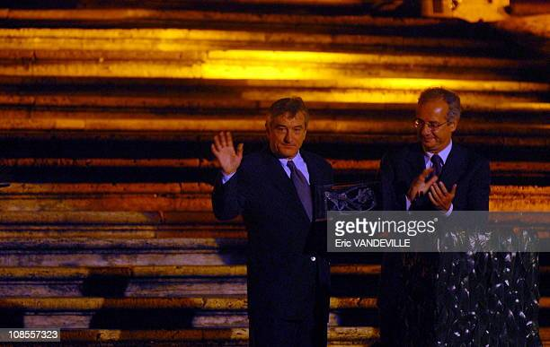 S actor Robert De Niro received the 'Steps and Stars' prize awarded to him by Rome's Mayor Walter Veltroni during a ceremony in Piazza di Spagna...