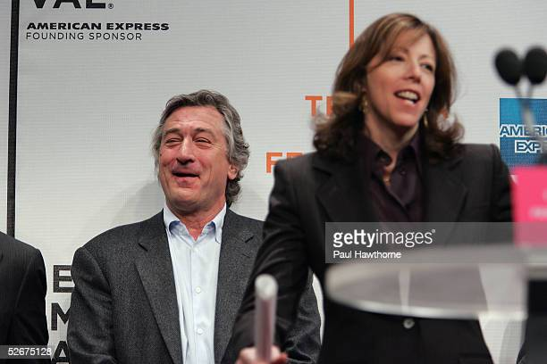 Actor Robert De Niro smiles as Tribeca Film Festival CoFounder Jane Rosenthal speaks at the opening press conference to kick off the 4th Annual...