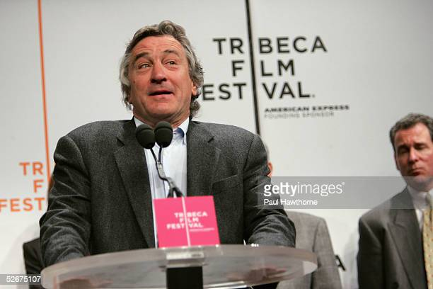 Actor Robert De Niro speaks at the opening press conference to kick off the 4th Annual Tribeca Film Festival April 21 2005 in New York City