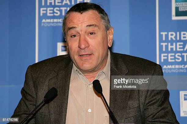 Actor Robert De Niro speaks at the press conference to announce the First Annual Tribeca Theater Festival at Tribeca Cinemas October 13 2004 in New...