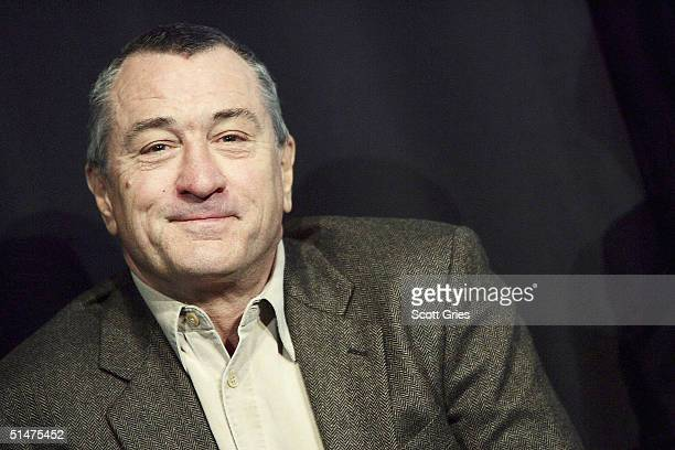 Actor Robert De Niro speaks during a press conference to kick off the first annual Tribeca Theater Festival at Tribeca Cinemas October 13 2004 in New...