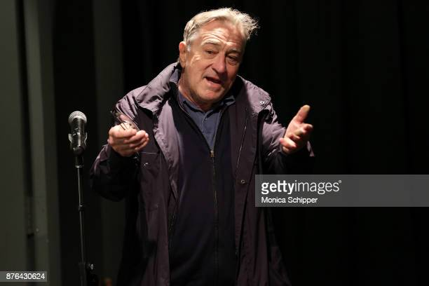 Actor Robert De Niro speaks on stage to introduce a special screening of Swim Team at Tribeca Screening Room on November 19 2017 in New York City