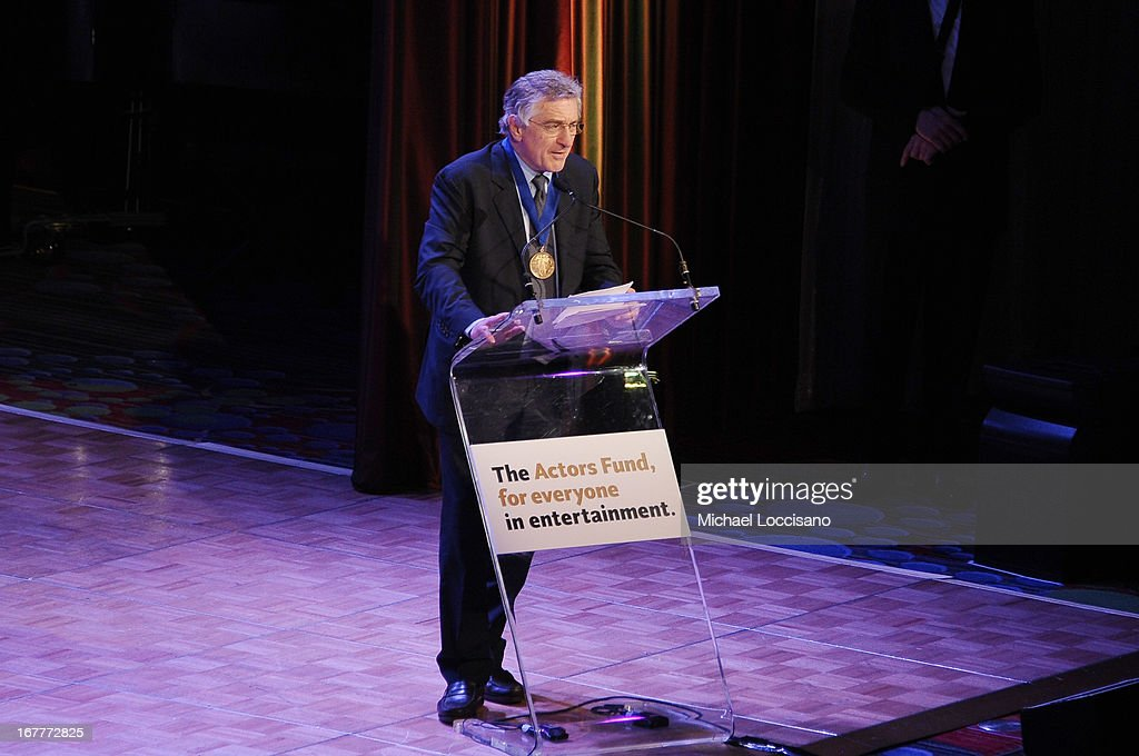 Actor <a gi-track='captionPersonalityLinkClicked' href=/galleries/search?phrase=Robert+De+Niro&family=editorial&specificpeople=201673 ng-click='$event.stopPropagation()'>Robert De Niro</a> speaks onstage at the 2013 Actors Fund's Annual Gala Honoring <a gi-track='captionPersonalityLinkClicked' href=/galleries/search?phrase=Robert+De+Niro&family=editorial&specificpeople=201673 ng-click='$event.stopPropagation()'>Robert De Niro</a> at The New York Marriott Marquis on April 29, 2013 in New York City.