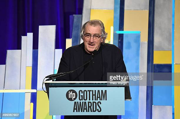 Actor Robert De Niro speaks onstage during the 25th Annual Gotham Independent Film Awards at Cipriani Wall Street on November 30 2015 in New York City