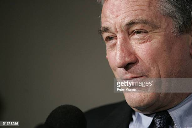 Actor Robert De Niro speaks to reporters backstage at the 5th Annual Directors Guild Of America Honors at the Waldorf Astoria Hotel September 29 2004...