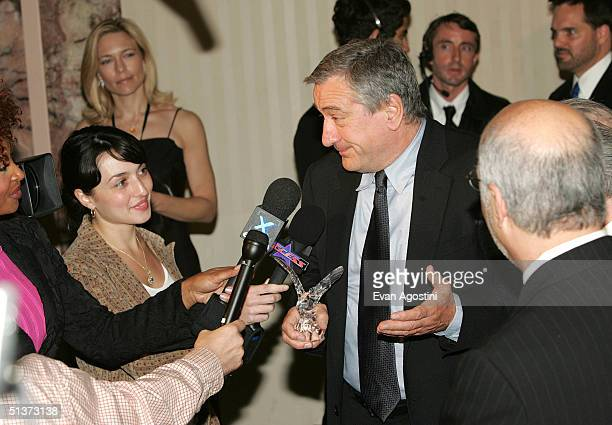 Actor Robert De Niro speaks with members of the press backstage at the 5th Annual Directors Guild Of America Honors at the Waldorf Astoria Hotel...