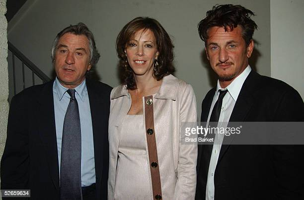 Actor Robert De Niro Tribeca Film Festival founder Jane Rosenthal and Actor Sean Penn attend 'The Interpreter' screening at the Paris Theatre on...