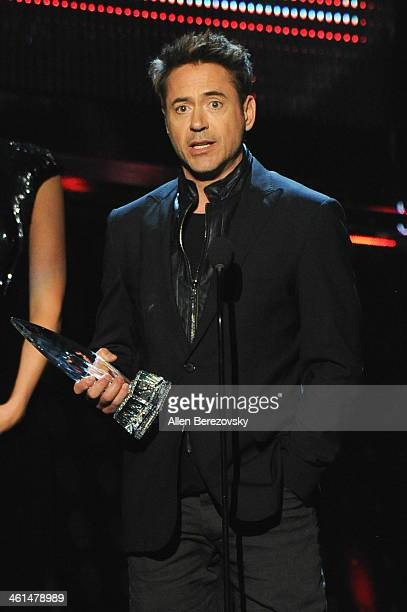Actor Robert Downey Jr accepts the Favorite Action Movie Actor award onstage at The 40th Annual People's Choice Awards show at Nokia Theatre LA Live...