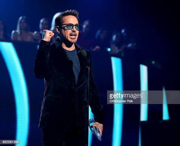 Actor Robert Downey Jr accepts the Favorite Movie Actor award onstage during the People's Choice Awards 2017 at Microsoft Theater on January 18 2017...