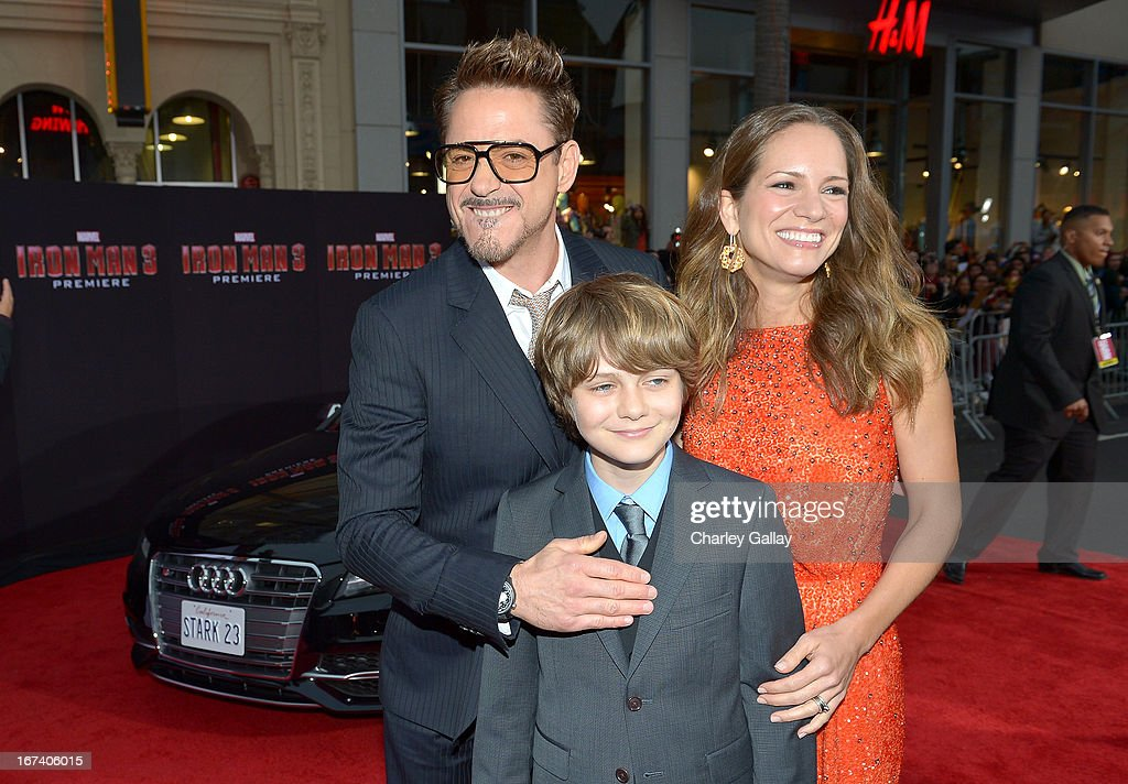 Actor <a gi-track='captionPersonalityLinkClicked' href=/galleries/search?phrase=Robert+Downey+Jr.&family=editorial&specificpeople=204137 ng-click='$event.stopPropagation()'>Robert Downey Jr.</a>, actor Ty Simpkins, and <a gi-track='captionPersonalityLinkClicked' href=/galleries/search?phrase=Susan+Downey&family=editorial&specificpeople=3997153 ng-click='$event.stopPropagation()'>Susan Downey</a> attend the U.S. Premiere of Marvel's Iron Man 3 hosted by Audi at the El Capitan Theatre on April 24, 2013 in Hollywood, California.