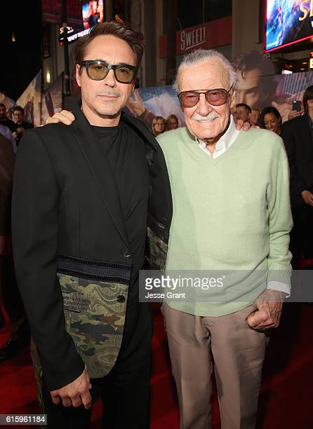 """Actor Robert Downey Jr and executive producer Stan Lee attend The Los Angeles World Premiere of Marvel Studios' 'Doctor Strange"""" in Hollywood CA on..."""