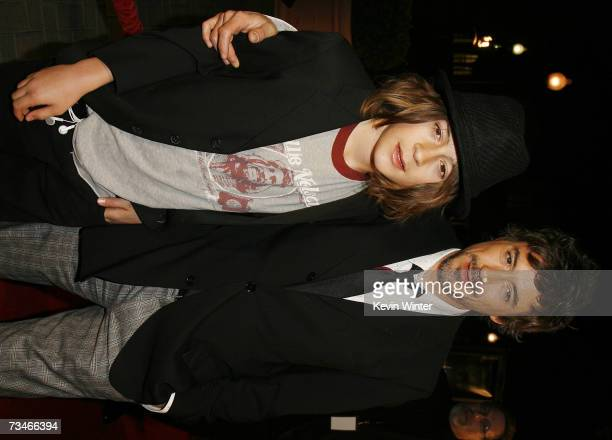 Actor Robert Downey Jr and his son Indio arrive at the premiere of Paramount Picture's 'Zodiac' at the Paramount Theatre on March 1 2007 in Los...
