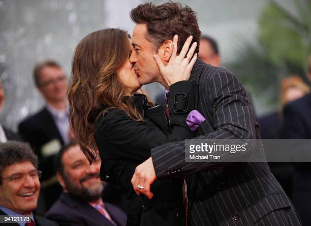 Actor Robert Downey Jr and his wife Susan Downey attend Robert Downey Jr's hand and footprint ceremony held in conjunction with the film 'Sherlock...