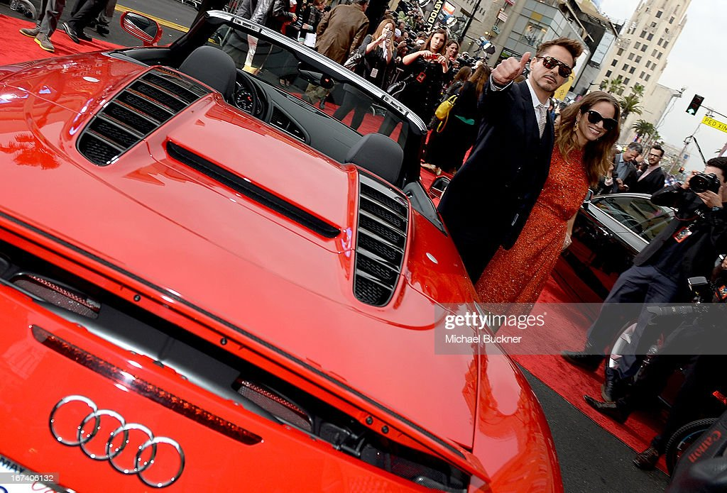 Actor <a gi-track='captionPersonalityLinkClicked' href=/galleries/search?phrase=Robert+Downey+Jr.&family=editorial&specificpeople=204137 ng-click='$event.stopPropagation()'>Robert Downey Jr.</a> (L) and his wife <a gi-track='captionPersonalityLinkClicked' href=/galleries/search?phrase=Susan+Downey&family=editorial&specificpeople=3997153 ng-click='$event.stopPropagation()'>Susan Downey</a> attend the U.S. Premiere of Marvel's Iron Man 3 hosted by Audi at the El Capitan Theatre on April 24, 2013 in Hollywood, California.
