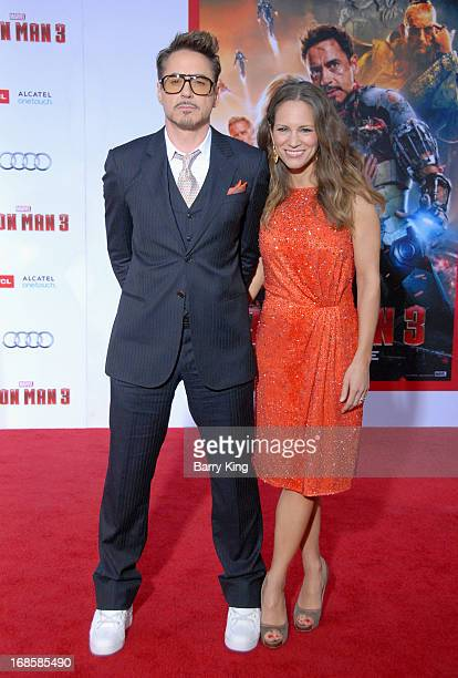 Actor Robert Downey Jr and wife producer Susan Downey arrive at the Los Angeles Premiere 'Iron Man 3' at the El Capitan Theatre on April 24 2013 in...