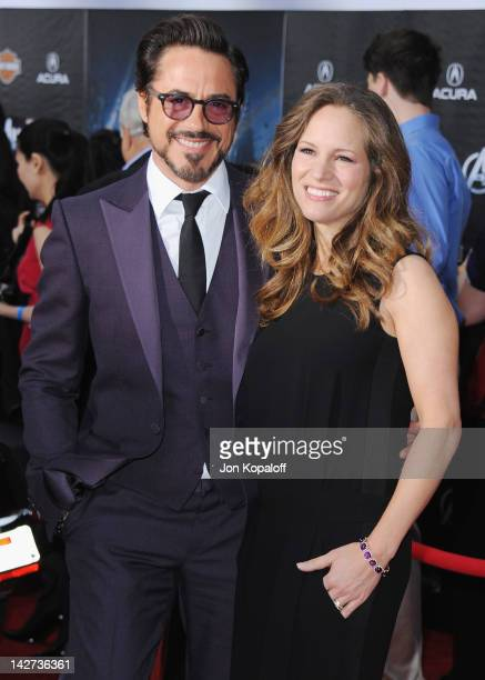 Actor Robert Downey Jr and wife Susan Downey arrive at the Los Angeles Premiere of 'The Avengers' at the El Capitan Theatre on April 11 2012 in...