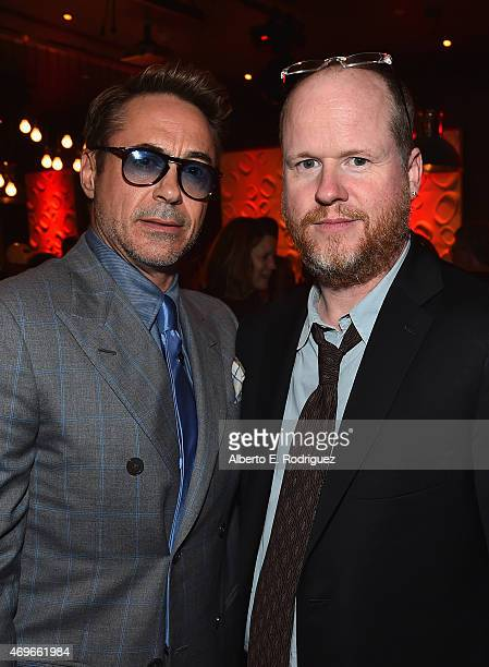 Actor Robert Downey Jr and writer/director Joss Whedon attend the after party for Marvel's 'Avengers Age Of Ultron' at Ohm Nightclub on April 13 2015...