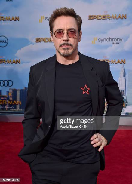 Actor Robert Downey Jr arrives at the premiere of Columbia Pictures' 'SpiderMan Homecoming' at TCL Chinese Theatre on June 28 2017 in Hollywood...