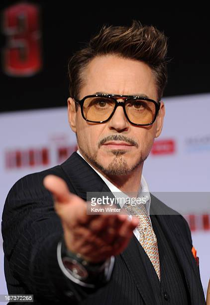 Actor Robert Downey Jr arrives at the premiere of Walt Disney Pictures' 'Iron Man 3' at the El Capitan Theatre on April 24 2013 in Hollywood...