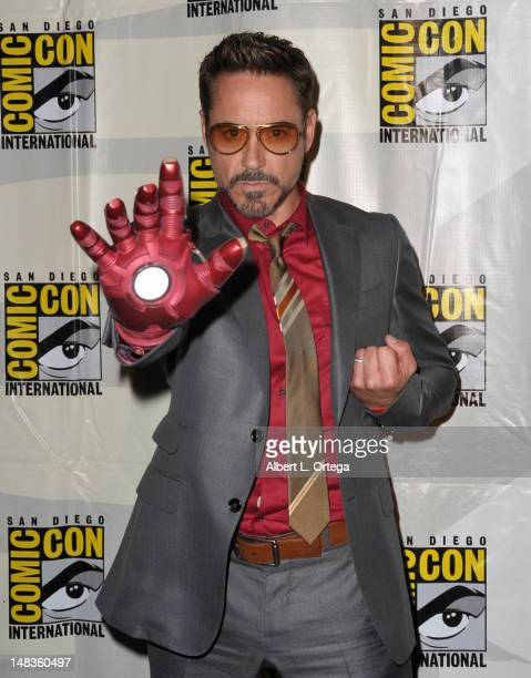 Actor Robert Downey Jr attends Marvel Studios 'Iron Man 3' panel during ComicCon International 2012 at San Diego Convention Center on July 14 2012 in...