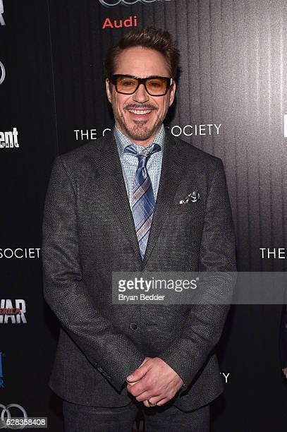 Actor Robert Downey Jr attends the Cinema Society with Audi and FIJI Water host a screening of Marvel's 'Captain America Civil War' on May 4 2016 in...