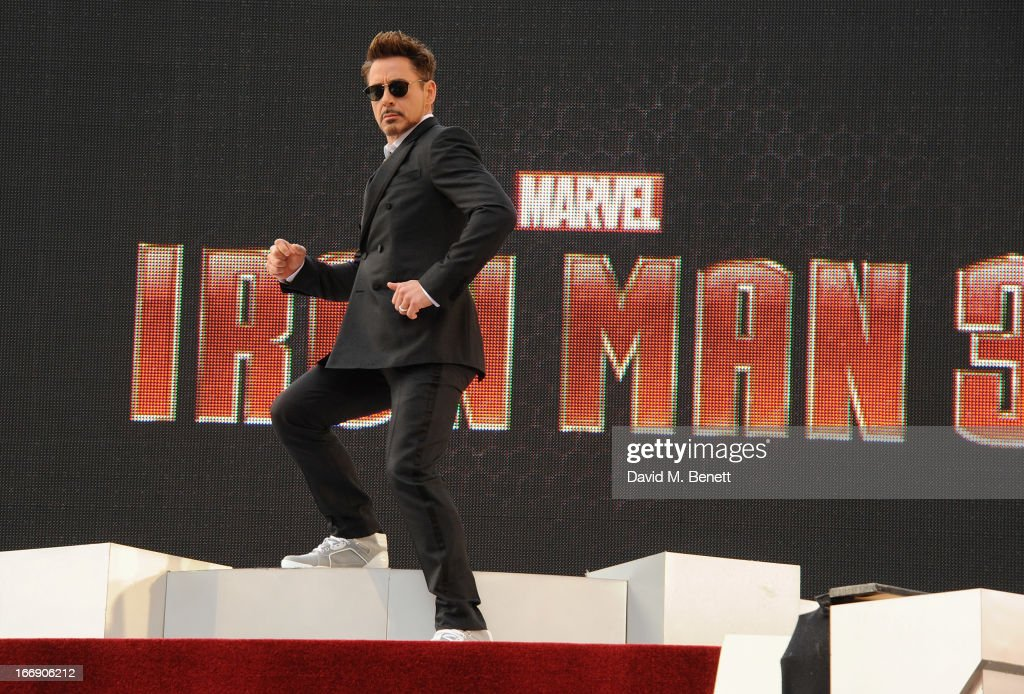 Actor Robert Downey Jr attends the 'Iron Man 3' Special Screening at the Odeon Leicester Square on April 18, 2013 in London, England.