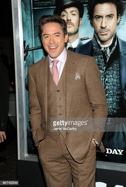 Actor Robert Downey Jr attends the New York premiere of 'Sherlock Holmes' at the Alice Tully Hall Lincoln Center on December 17 2009 in New York City