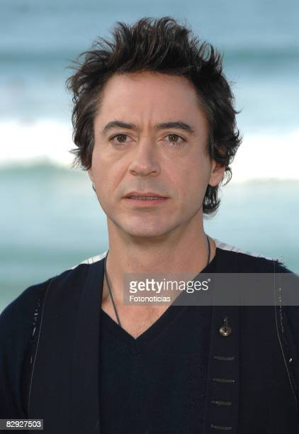 Actor Robert Downey Jr attends the photocall for 'Tropic Thunder' at The Kursaal Palace during the 56th San Sebastian Film Festival on September 20...