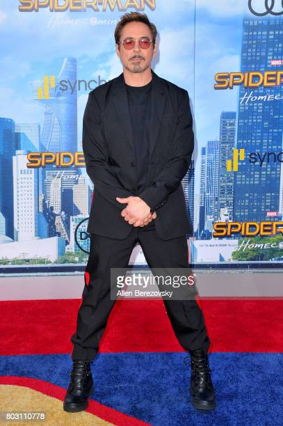 Actor Robert Downey Jr attends the premiere of Columbia Pictures' 'SpiderMan Homecoming' at TCL Chinese Theatre on June 28 2017 in Hollywood...