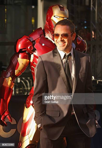 Actor Robert Downey Jr attends the premiere of the movie 'Iron Man' at the Cinemaxx on April 22 2008 in Berlin Germany
