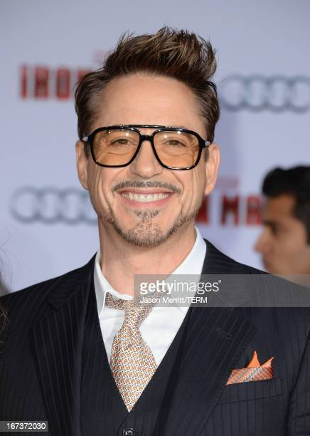 Actor Robert Downey Jr attends the premiere of Walt Disney Pictures' 'Iron Man 3' at the El Capitan Theatre on April 24 2013 in Hollywood California
