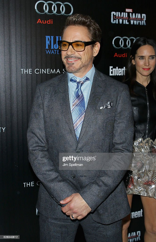 Actor <a gi-track='captionPersonalityLinkClicked' href=/galleries/search?phrase=Robert+Downey+Jr.&family=editorial&specificpeople=204137 ng-click='$event.stopPropagation()'>Robert Downey Jr.</a> attends the screening of Marvel's 'Captain America: Civil War' hosted by The Cinema Society with Audi & FIJI at Brookfield Place on May 4, 2016 in New York City.
